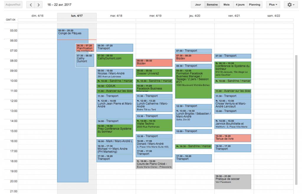 Système du bonheur calendrier de la semaine